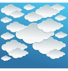 Cartoon white clouds on blue sky vector