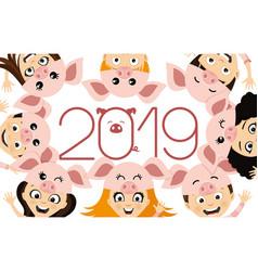 children in costume piglets vector image