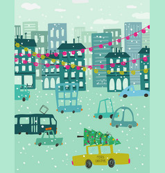 christmas holiday greeting card with city scene vector image