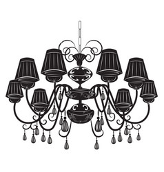 Classic chandelier with Crystals on white vector image