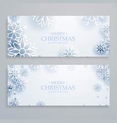 clean white merry christmas banners set with vector image