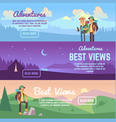 Climbing trekking and hiking horizontal vector