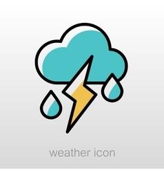 Cloud rain lightning icon weather vector