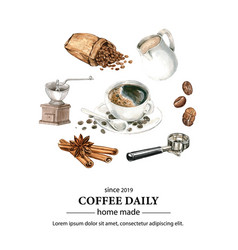 Coffee arabica beans bag with cup vector