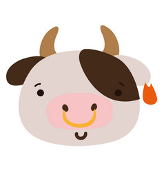 Colorful happy cow head wild animal vector