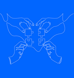 continuous line drawing of hands solving puzzle vector image