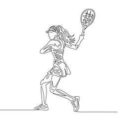 continuous one line drawing woman tennis player vector image