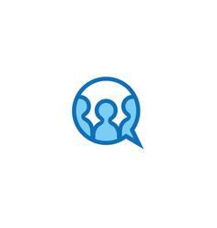 creative chat bubble circle people logo vector image