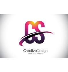 Cs c s purple letter logo with swoosh design vector