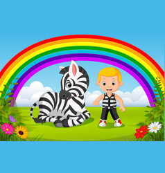 Cute boy and zebra at park with rainbow scene vector
