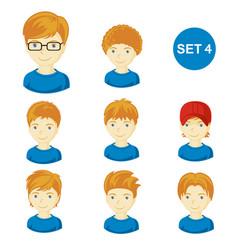 Cute ginger little boys with various hair style vector