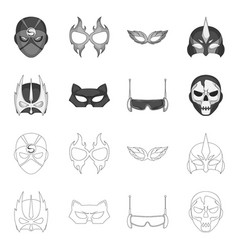 design of hero and mask logo set of hero vector image