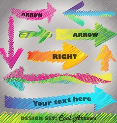 Design set Rainbow colored scribbled arrows vector