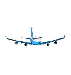 Drawing airplane in blue color isolated vector