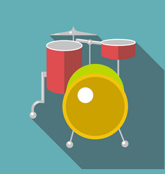 drum kit icon flat style vector image vector image