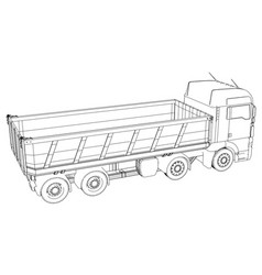 Dump truck isolated created of 3d vector