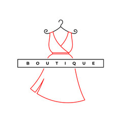 Elegant woman dress logo fashion shop symbol vector