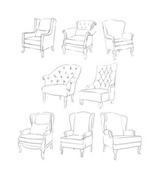 Exquisite pencil drawing chair vector