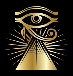 Eye horus with rays sun and pyramid vector