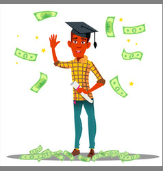 falling money on smiling student in graduate cap vector image