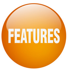 Features orange round gel isolated push button vector