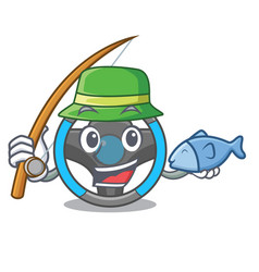 fishing steering wheel in a mascot box vector image