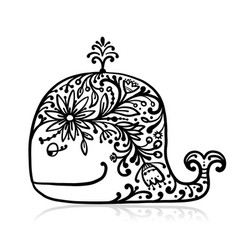 Floral whale sketch for your design vector