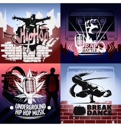 Four Hip Hop Icon Set vector image vector image