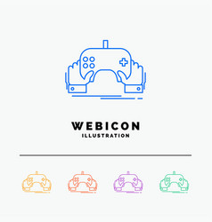 game gaming mobile entertainment app 5 color line vector image