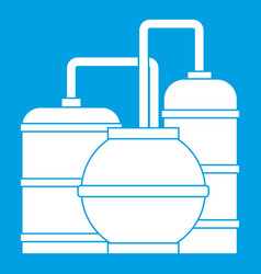 Gas storage tanks icon white vector