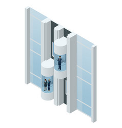 Glass futuristic cylindrical shape elevator or vector