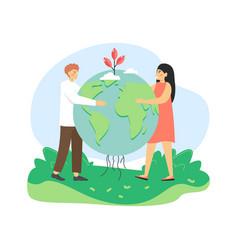 global environmental protection man and woman vector image