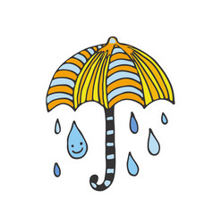 happy rain card doodle sticker vector image