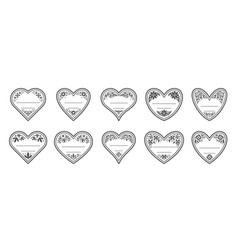 heart shape love vintage floral frame card tag set vector image