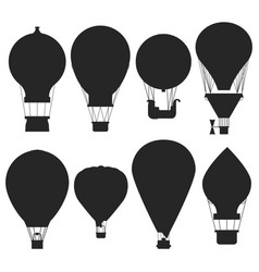 Hot air balloons silhouettes isolated vector