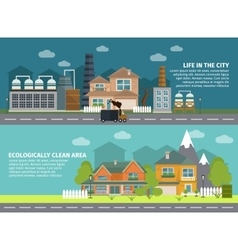Industrial Buildings And City Flat Banners vector image