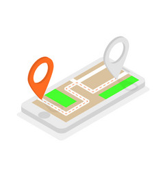 Isometric phone with location pins route planning vector