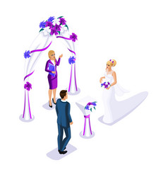 Isometrics visiting wedding ceremony bride and vector