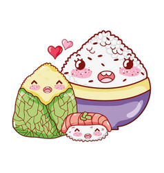Kawaii rice sushi and wrapped food japanese vector