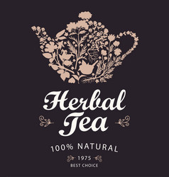 Label or banner for herbal tea with kettle and vector