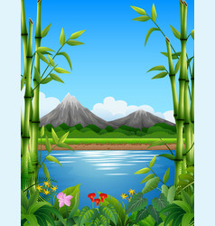 Landscape with bamboo trees in the lake and mounta vector