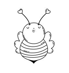 little bee kawaii character vector image