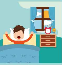Little boy waking up in a vector