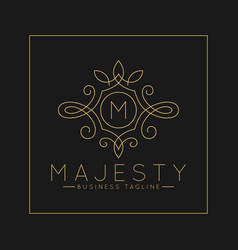 Luxurious letter m logo with classic line art vector
