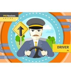 Male driver in uniform and cap behind the wheel vector