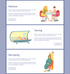 manicure and tanning process posters set vector image