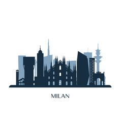 Milan skyline monochrome silhouette vector