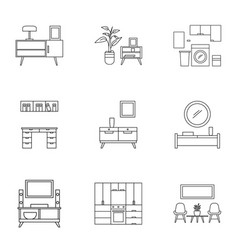 modern furniture icon set outline style vector image