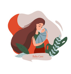 mother with a newborn vector image