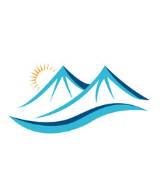Mountain terrain over the horizon icon vector